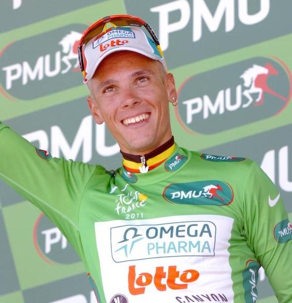 Gilbert com a camisa verde no Tour.