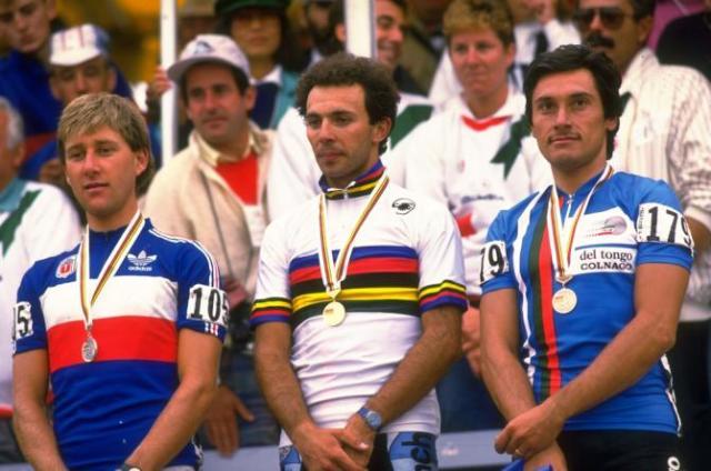 podio-mundial-1986-Charly_Mottet_Moreno_Argentin_Guiseppe_Saronni
