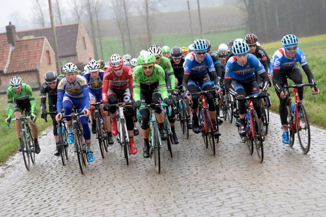 Garmin leads the peloton in the 2014 Omloop Het Nieuwsblad